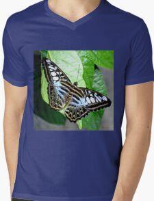 Blue Tiger Butterfly Mens V-Neck T-Shirt