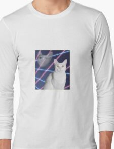 80'S LASER BACKGROUND CAT 2 Long Sleeve T-Shirt