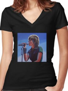 Nena Painting Women's Fitted V-Neck T-Shirt