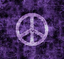 Distressed Purple Peace Sign by M Rogers