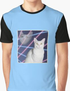 80'S LASER BACKGROUND CAT 2 Graphic T-Shirt