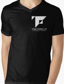 Mankind Divided - Task Force 29 (Simple White Logo) Mens V-Neck T-Shirt