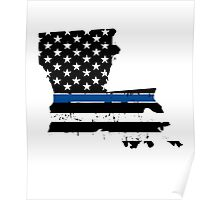 Pray For Baton Rouge Louisiana Blue Line Poster