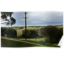 Green landscape with fence Poster
