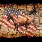 """Heading West"" Horse, Eagle and US Flag by Val  Brackenridge"