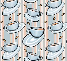 Cups Medley Blue Stripes by Mariana Musa