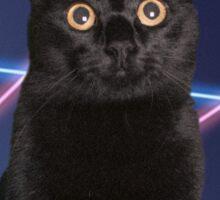 80'S LASER BACKGROUND CAT Sticker