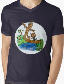 Groot and Rocket Mens V-Neck T-Shirt