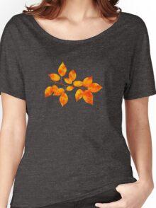 Orange Cherry Leaf Art Women's Relaxed Fit T-Shirt
