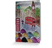 Umbrellas at Big ben Greeting Card