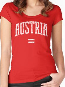 Austria (White Print) Women's Fitted Scoop T-Shirt