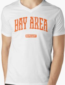 Bay Area Represent (Orange Print) Mens V-Neck T-Shirt