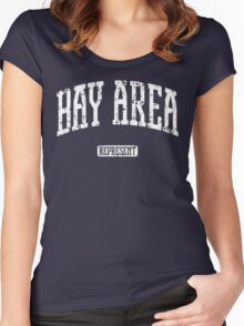 Bay Area Represent (White Print) Women's Fitted Scoop T-Shirt