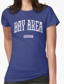 Bay Area Represent (White Print) Womens Fitted T-Shirt