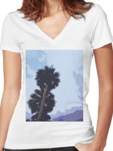 Palm Tree Layers Women's Fitted V-Neck T-Shirt