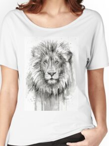 Lion Watercolor Painting Women's Relaxed Fit T-Shirt