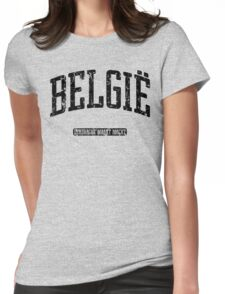 België (Black Print) Womens Fitted T-Shirt