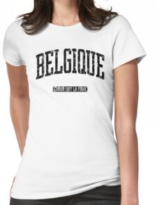 Belgique (Black Print) Womens Fitted T-Shirt