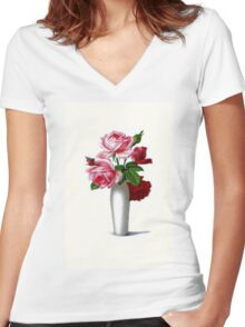 Vintage Red and Pink Roses Floral Women's Fitted V-Neck T-Shirt