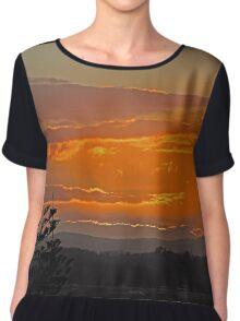 Orange cloud Sunset, Coolangatta, Queensland, Australia Chiffon Top