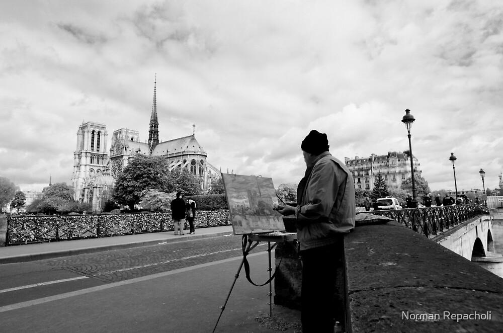 Artist at work - Notre Dame - Paris, France by Norman Repacholi
