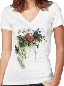 Vintage Floral Spray Women's Fitted V-Neck T-Shirt