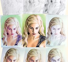 Emilia Clarke miniature, step-by-step by wu-wei