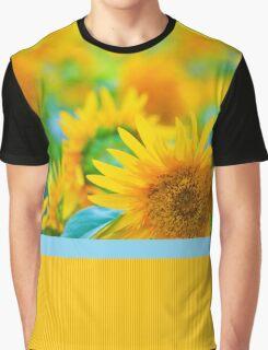 Cheerful Happy Yellow Sunflower Blue Green Summer Graphic T-Shirt