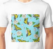 Swallowtail and Floral Pattern Unisex T-Shirt