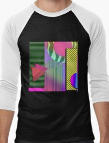 Just Can't Get Enough Eighties Retro Patterns Men's Baseball ¾ T-Shirt