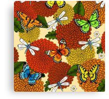Flowers, Dragonflies, and Butterflies Canvas Print