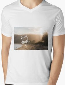 Aim High Handwritten motivational text Mens V-Neck T-Shirt