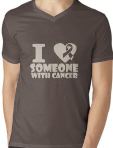 breast cancer I heart someone with cancer support Mens V-Neck T-Shirt