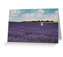 """""""Lady in White"""" in a field of lavender Greeting Card"""