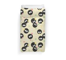Ghibli Inspired Soot Sprites with Candy Pattern Duvet Cover