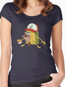 Spongegar Ash Hat Poke Trainer Funny Meme Women's Fitted Scoop T-Shirt