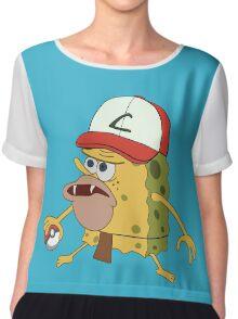 Spongegar Ash Hat Poke Trainer Funny Meme Chiffon Top