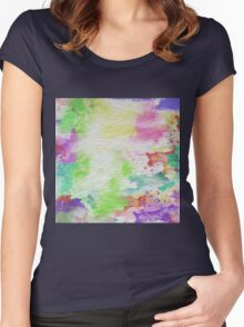 Abstract Painting Watercolor Splatter Pattern Women's Fitted Scoop T-Shirt