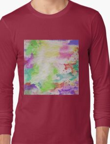 Abstract Painting Watercolor Splatter Pattern Long Sleeve T-Shirt