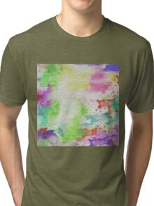 Abstract Painting Watercolor Splatter Pattern Tri-blend T-Shirt