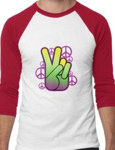 Bright Neon Peace Sign Men's Baseball ¾ T-Shirt