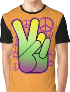 Bright Neon Peace Sign Graphic T-Shirt