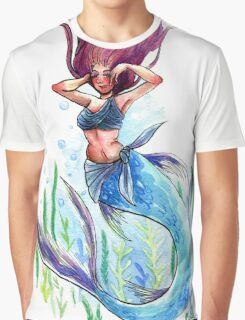 Mermay Watercolor Painting Graphic T-Shirt