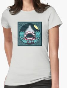 Dark night at the sea - wild shark appear Womens Fitted T-Shirt
