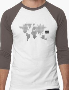 World map made from people icons Men's Baseball ¾ T-Shirt