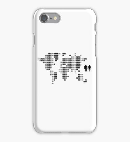 World map made from people icons iPhone Case/Skin