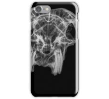 Front View X-ray of a skull of a goat on black background  iPhone Case/Skin
