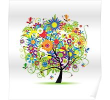 Floral tree summer Poster