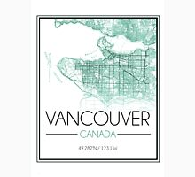 Vancouver, BC City Map- Teal Unisex T-Shirt