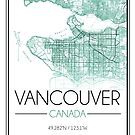 Vancouver, BC City Map- Teal by Emma Koehle
